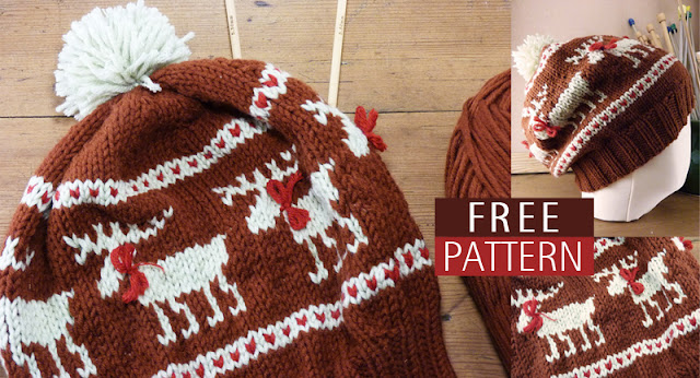 ResQCrafts: Moose Fair Isle Hat - Free Knitting Pattern