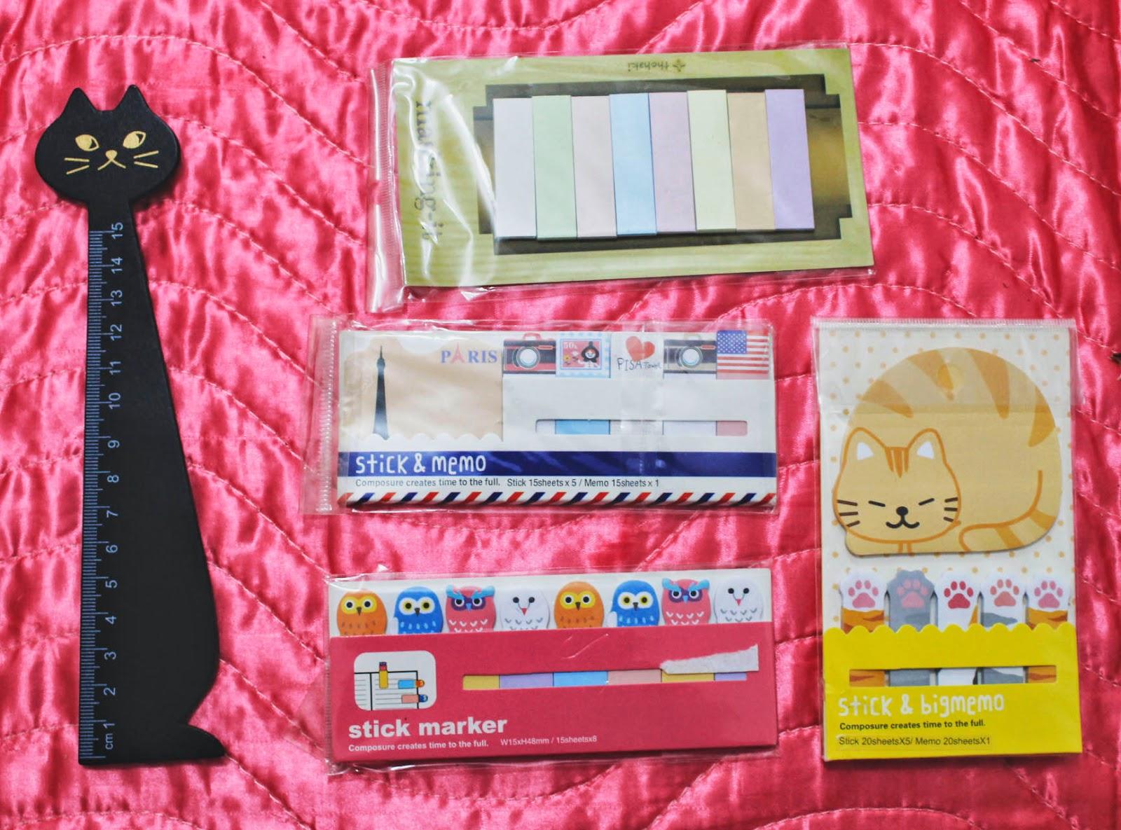 ebay é confiável?, comprei no ebay, comprinhas de papelaria online, onde comprar coisas fofas online, onde comprar coisas de papelaria, comprinhas de papelaria baratas, post-its, régua de gatinho