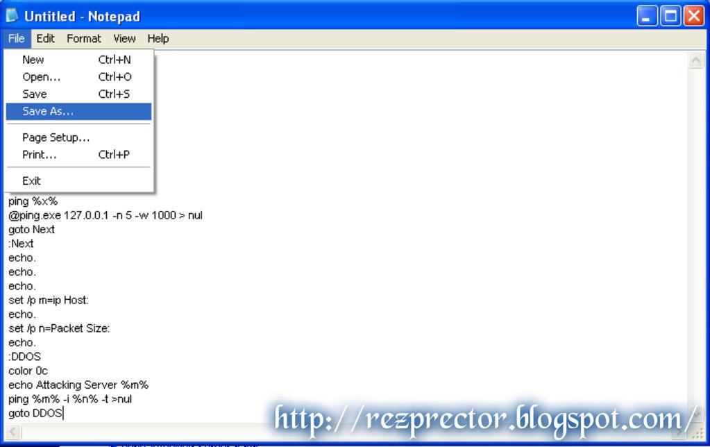 Membuat Tool DDoS Sederhana Dari Notepad | rezprector