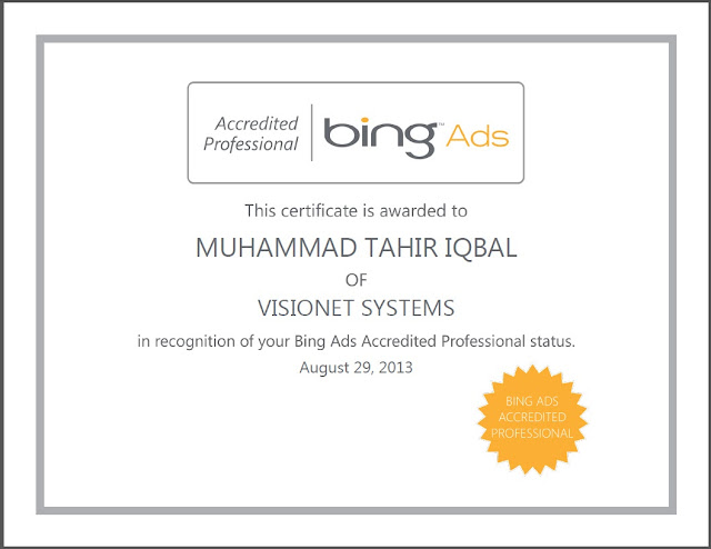 Bing Ads Accredited Professional Exam Certificate