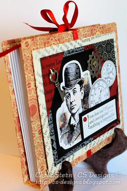 Steampunk recycled art altered envelope book