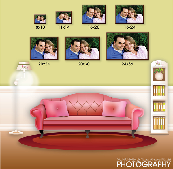sample wall portrait sizes nora kramer photography