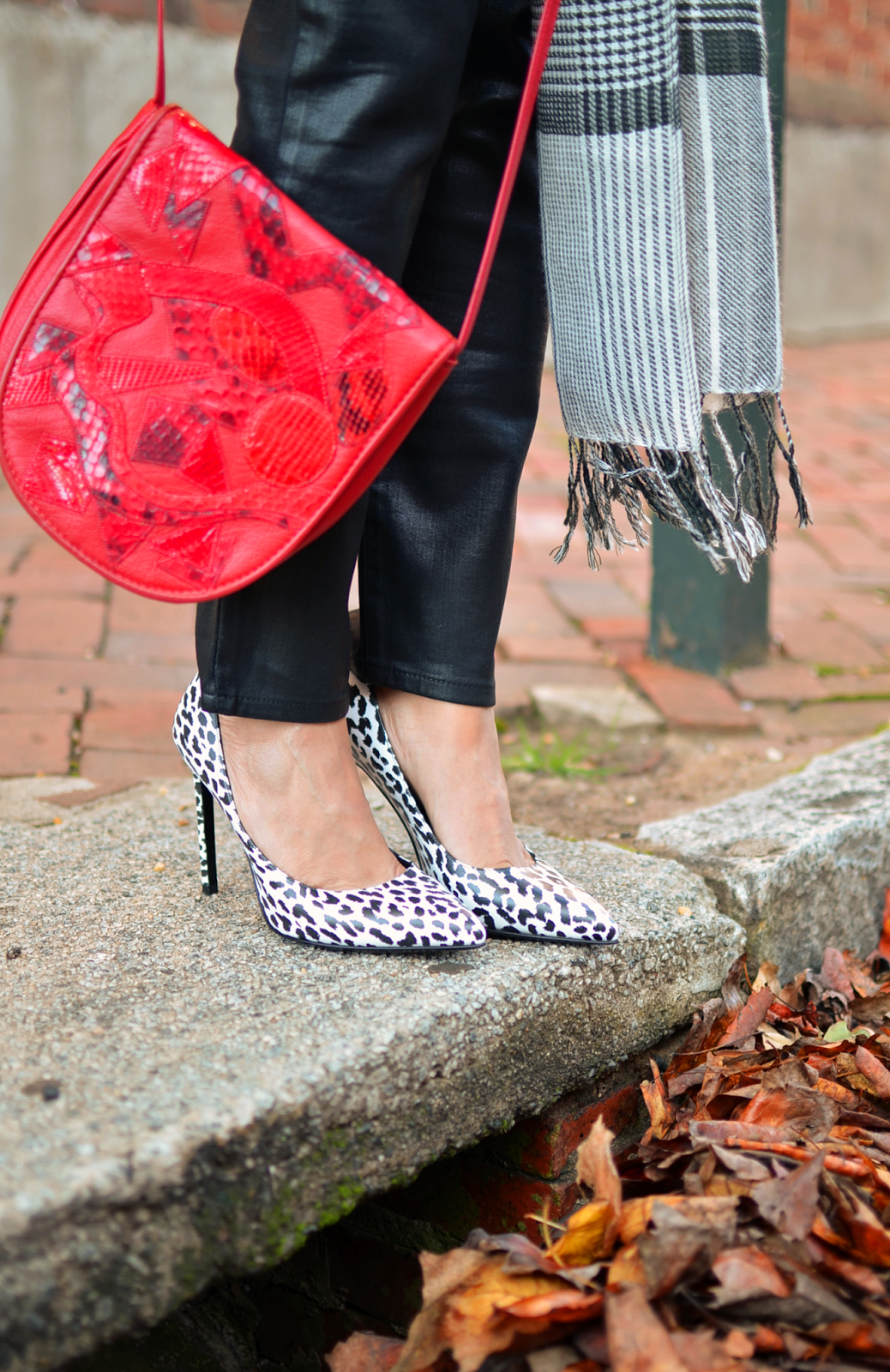 Outfit with animal print bag and shoes