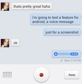 recording voice in facebook messenger