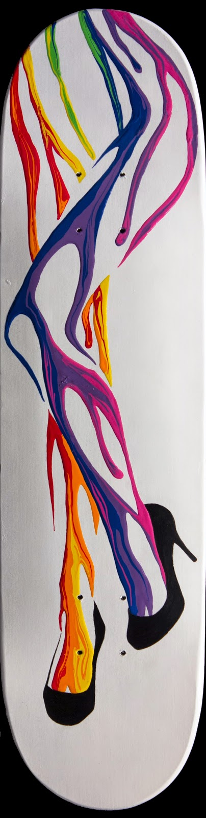 Surreal pop art Painting of woman's legs and feet wearing louboutin style stilettos creating using dripping colorful acrylic rainbow paint.