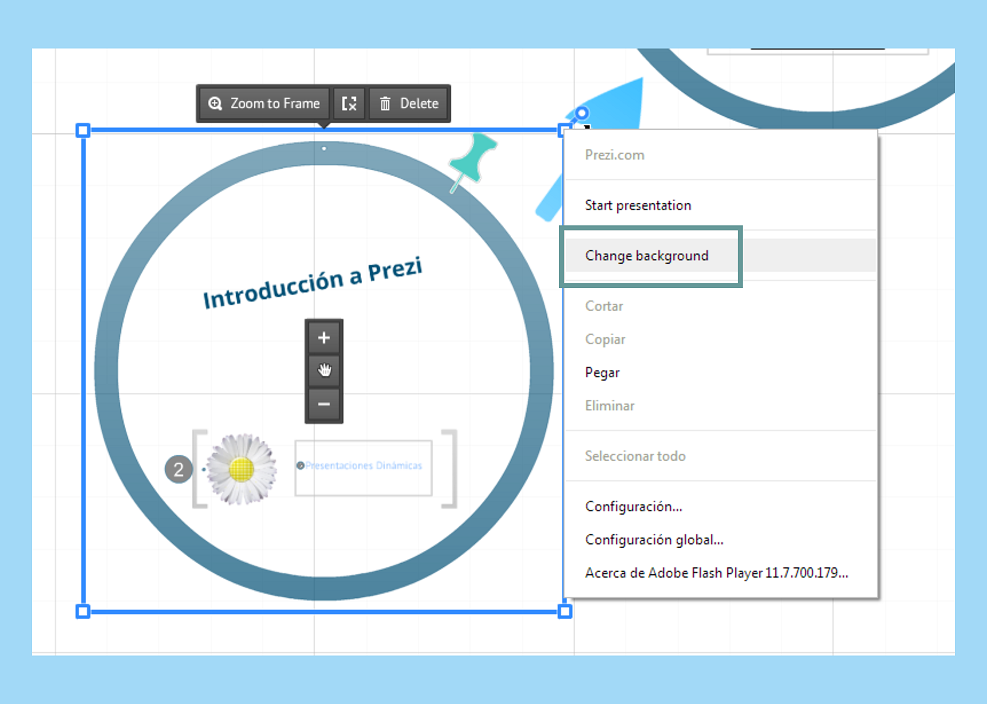 how to change prezi bacvkground in prezi