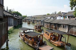 Single oar boats of the water in Wuzhen, Zhejiang, China