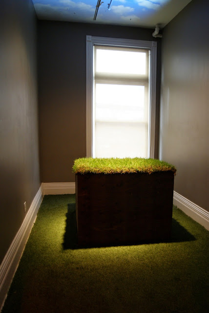 Come Up To My Room 2015, Gladstone Hotel in Toronto, CUTMR, culture, event, installations, art, artmatters, design, interior, Ontario, Canada, artists, TODO, IDS, The Purple Scarf, Melanie.Ps, From Now Until The End, And Now Again, Fareena Chanda, grass, sky, death