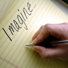 hand writing imagine on yellow, lined paper