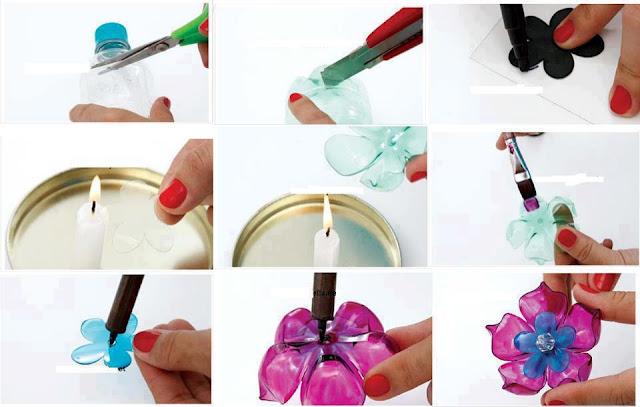 manualidad : Pequeñas flores de plástico hechas a partir del reciclaje de botellas de plástico