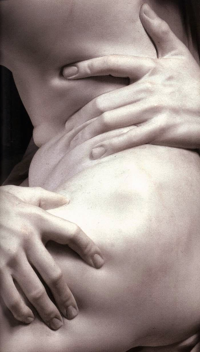 Details of sculpture The Rape of Proseprina by Bernini, fingers gripping thigh