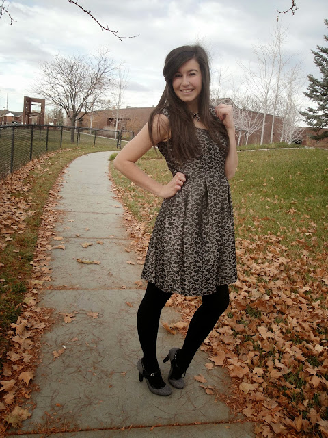 party dress, jcpenny, jcp, thanksgiving outfit, pretty attire, pretty dresses, party attire, long hair, payless, payless shoes, floral dresses, bow necklace,