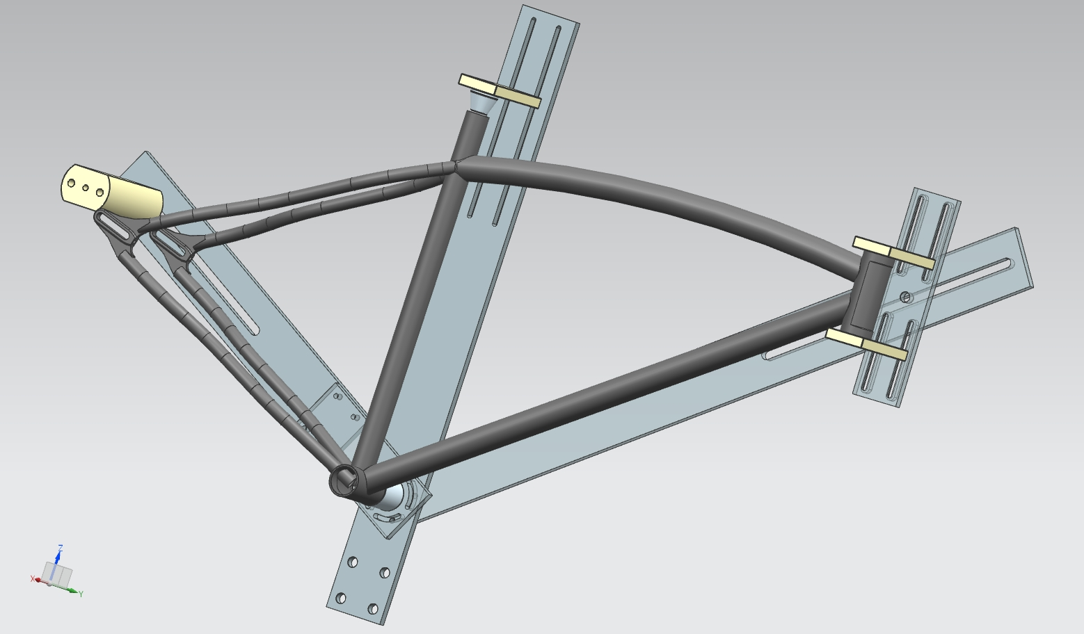the dmo element frame on the new frame jig