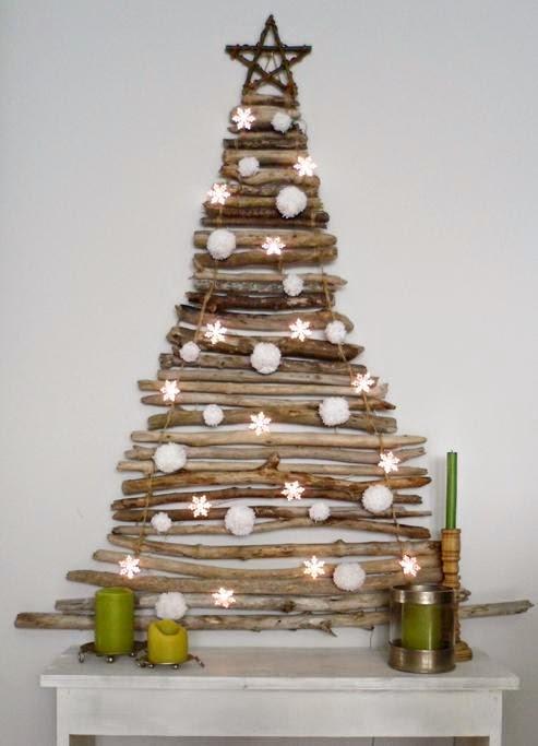 Una cálida idea con ramas y luces