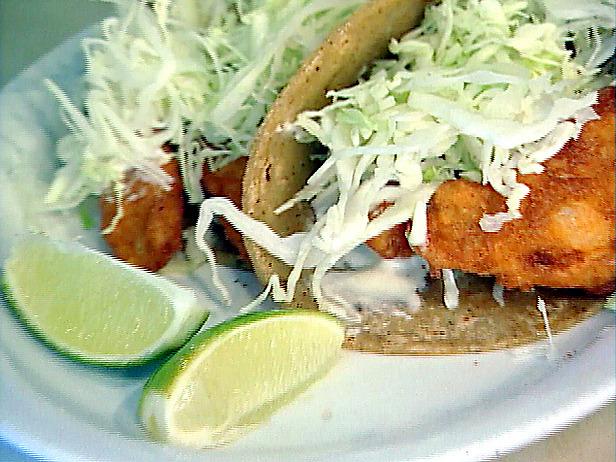 Baja fish tacos recipe fish tacos fish and tacos for Food network fish tacos
