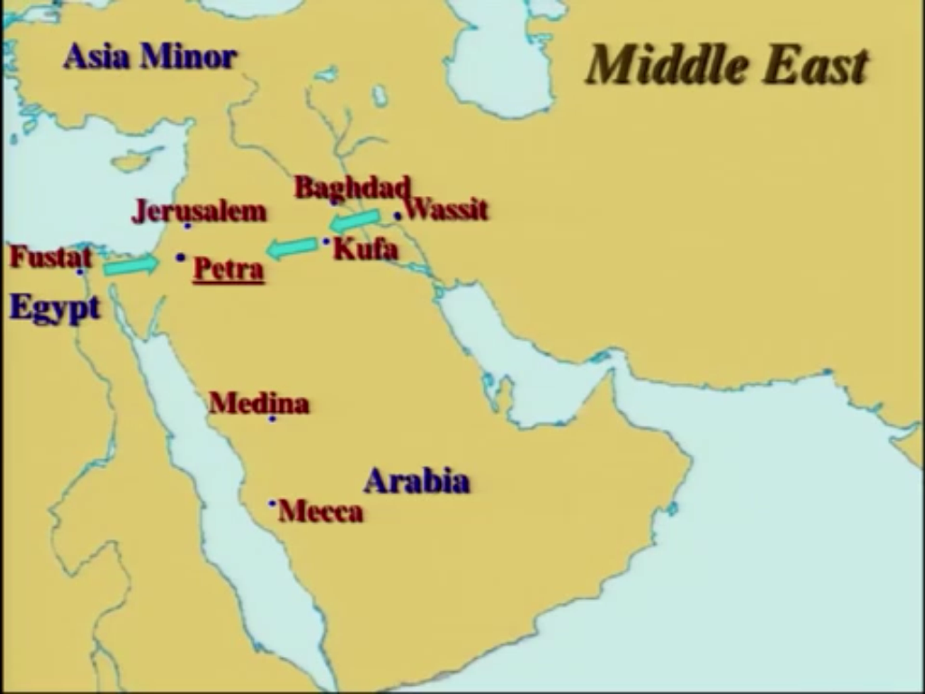 ApoLogika Why Did The First Muslims Pray Towards Petra - Jerusalem on a map