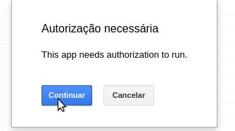 Autorizar app de planilha do Google Docs/Drive. Tela 1
