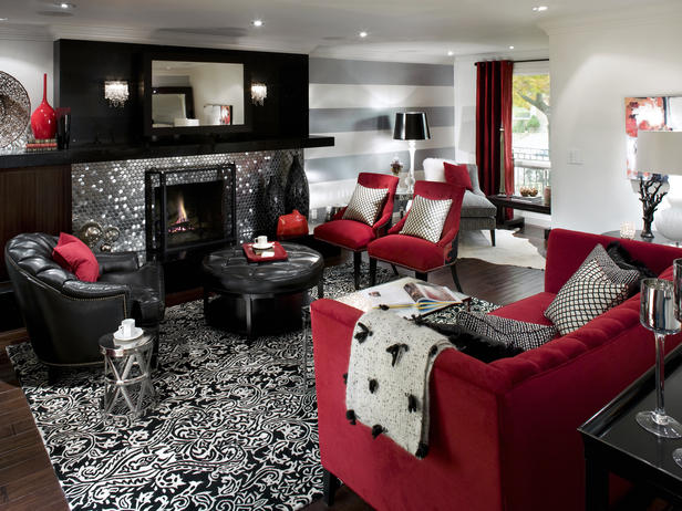 2013 fireplace design ideas by candice olson decorating idea for Black white gray and red living room