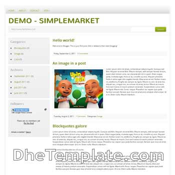 SimpleMarket Blogger Template convert from wordpress theme to blogger. minimalist design blogspot template