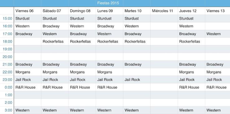 "Timetables ""Fiesta Benidorm 2015"""