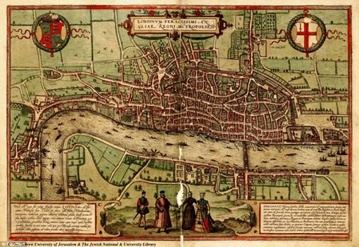 London: The Tower of London dapat dilihat di sebelah timur kota, sementara kurangnya pengembangan pada bagian selatan Sungai Thames, yang hanya memiliki satu jembatan, juga jelas