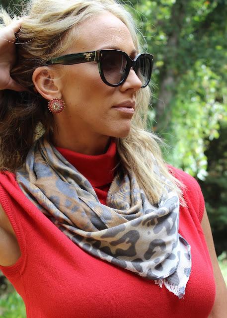 prada sunglasses leopard scarf
