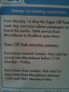 Chiltern Railways Super Off-Peak restriction changes 14 May 2012