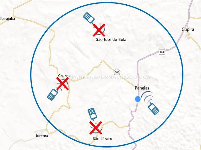 A maior parte do município de Panelas não tem sinal de celular