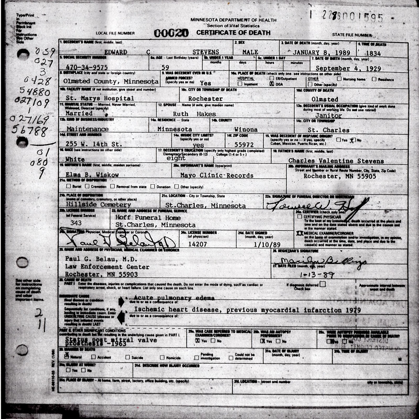 My family history october 2013 eds death certificate xflitez Gallery