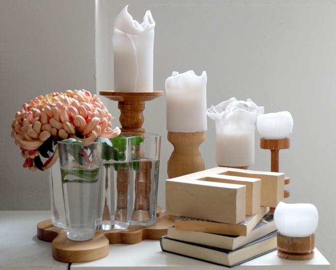 Savoy, Vase, Aalto, Iitala, Brett, Deko, Typo, Holzkerzenständer, Chrysanthemen