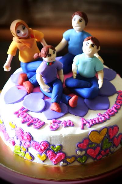 Birthday cake center th anniversary
