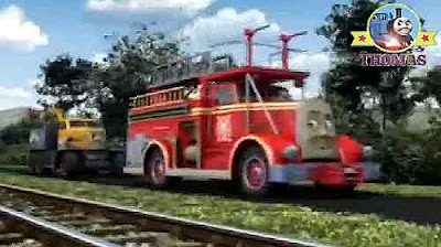 Thomas train Flynn the tank engine raced Island of Sodor roadway pulling truck Butch breakdown lorry