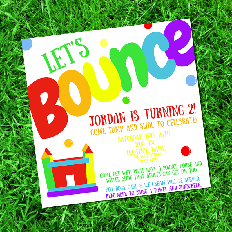 CS Fabrication & Design: Let\'s Bounce Birthday Party Invitation