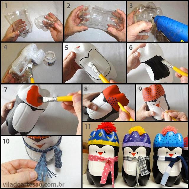 reciclando garrafa pet e passo a passo de pinguim