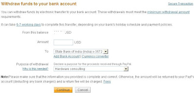 Withdraw Funds from paypal to sbi icici hdfc axis