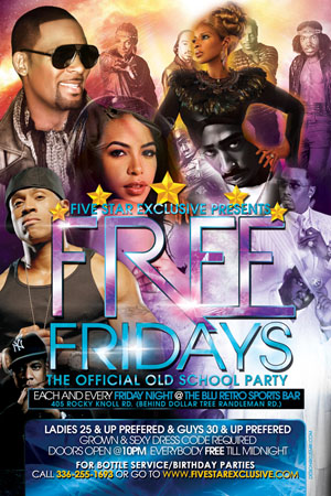 Free Fridays Old School Party Flyer Design