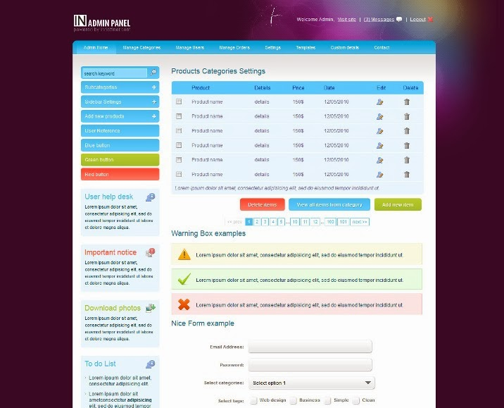 INADMIN Free Admin Template