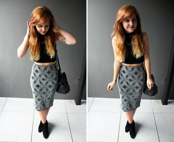 Sweet Monday blog, Miss Selfridge diamond glitter tube skirt