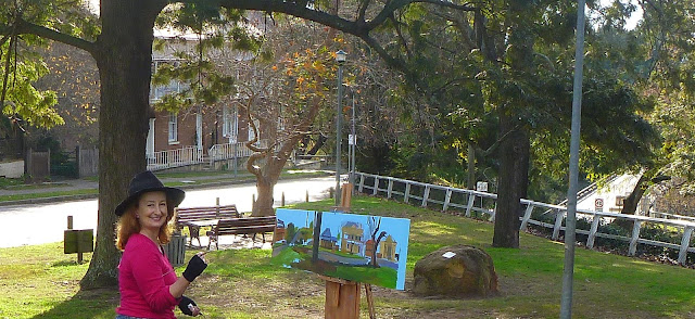 Plein air oil painting of Thompson Square, Windsor by artist Jane Bennett