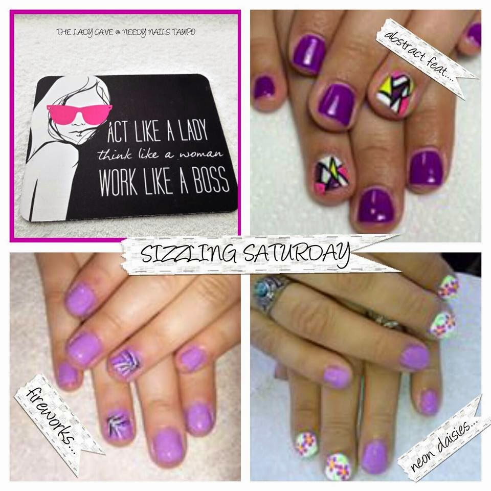 Shellac manicure purple firework neon omber and feats