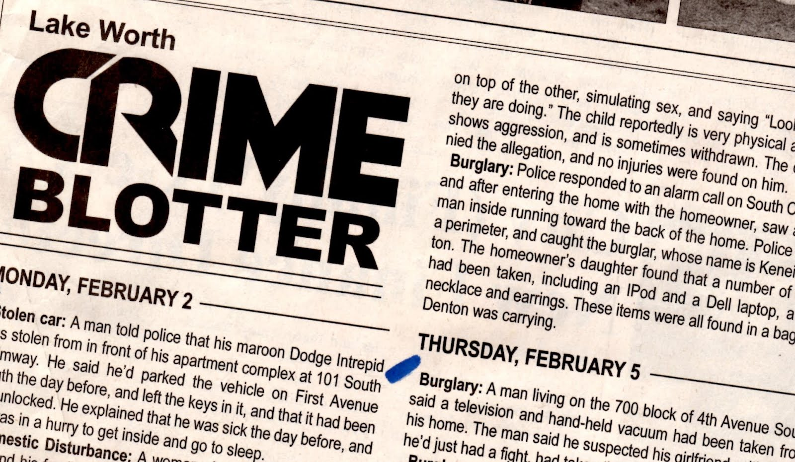 """Click on the """"CRIME BLOTTER"""" below."""