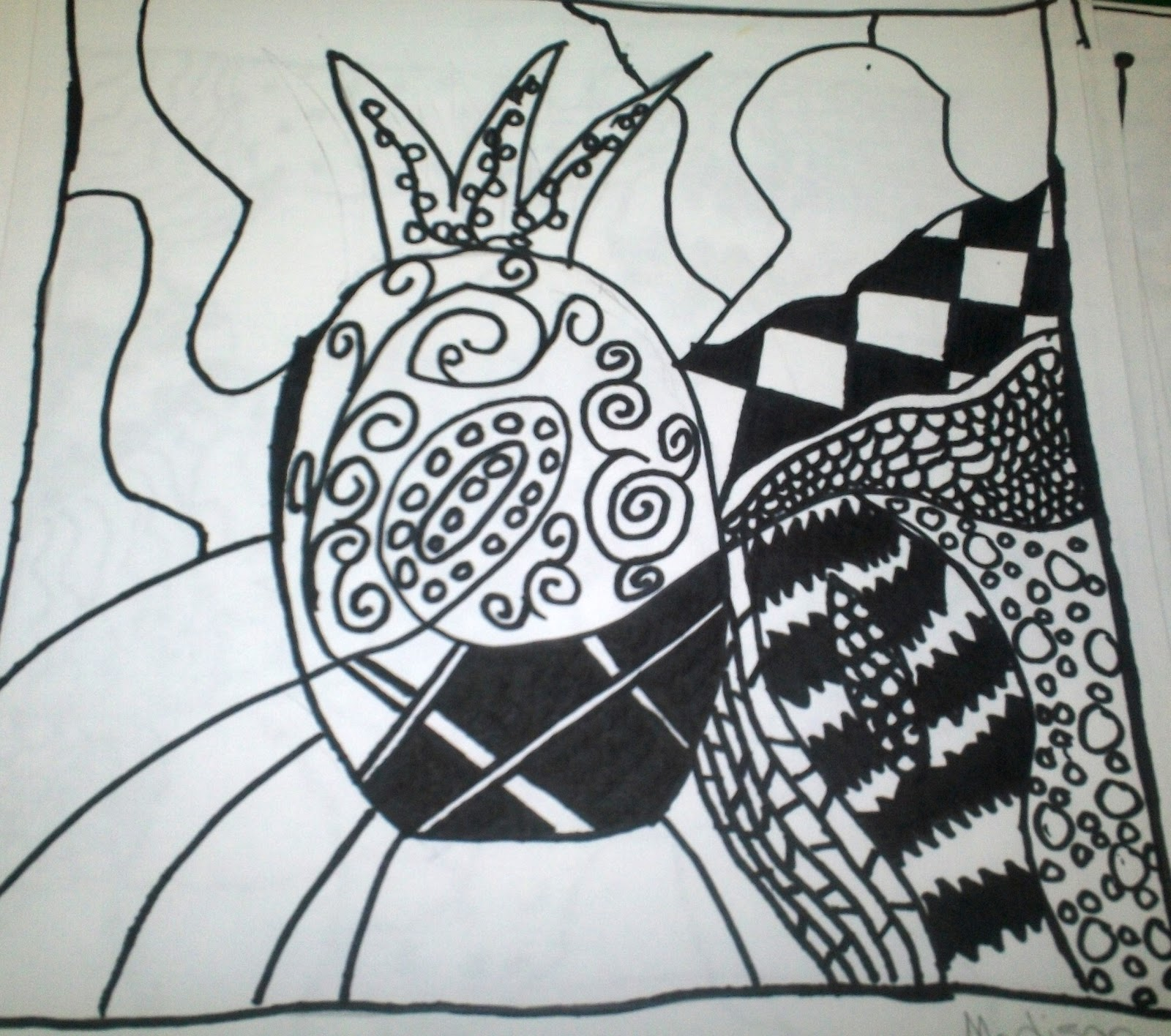 how to draw narwhal zentangle
