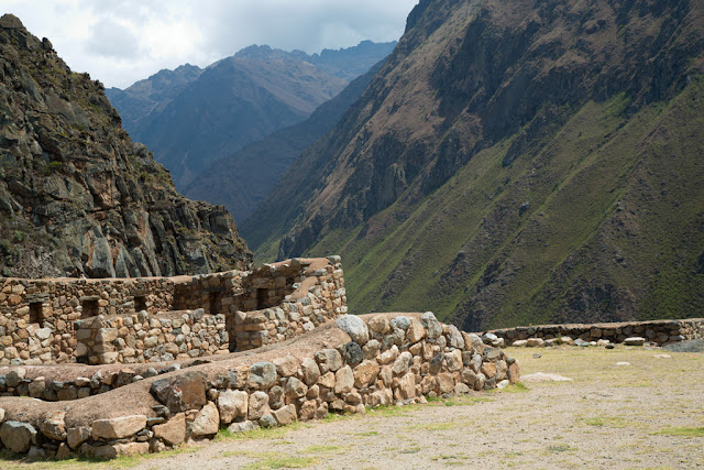 A photograph of some ruins near Wayllabamba taken on day 1 of the Inca Trail in Peru