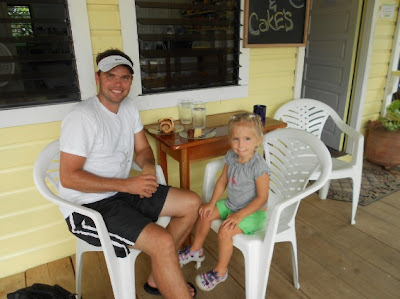 A Daddy Date - McKinley Pritchard and Windsor having a Cinnamon Roll in Belize