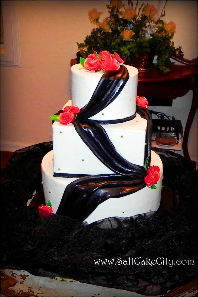 Salt Cake City: Black Draping & Red Roses Wedding Cake