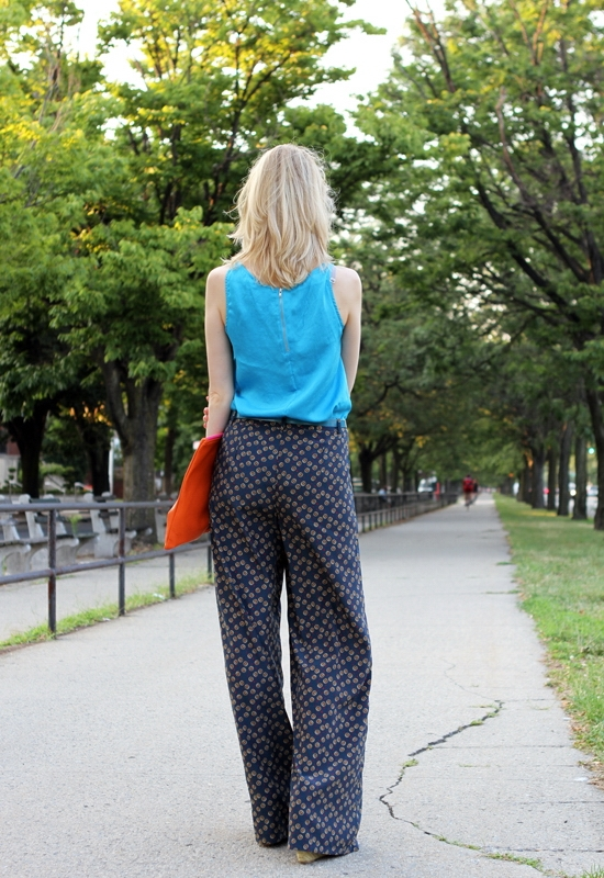 The Wind of Inspiration Outfit of the Day Post - Palazzo Pants Are A Girl's Good Friend - Asos Satin Tank Turquoise Forever 21 Dots & Daisy Palazzo Pants Jessica Simpson Women's Jungle Wedge Espadrille American Apparel Large Leather Carry-All Pouch Asos Leather Patent Belt Blue Asos Metal Collar Necklace Rhodium Asos Oversized Retro Sunglasses Wittnauer Silver Chronograph Watch Essie 752 Turquoise & Caicos Revlon 440 Siren