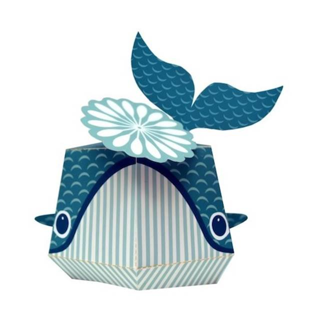 patung ikan paus kertas yang comel