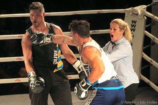 Luke Ottley, right, won his bout against Ray Karauria - Kelt Capital King of Club Rugby charity boxing event, at Lindisfarne College, Hastings. photograph