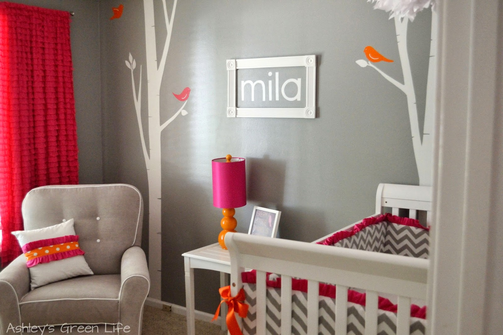 Ashleys Green Life Baby Milas Grey Pink Orange Nursery Reveal - Pink and grey nursery decor
