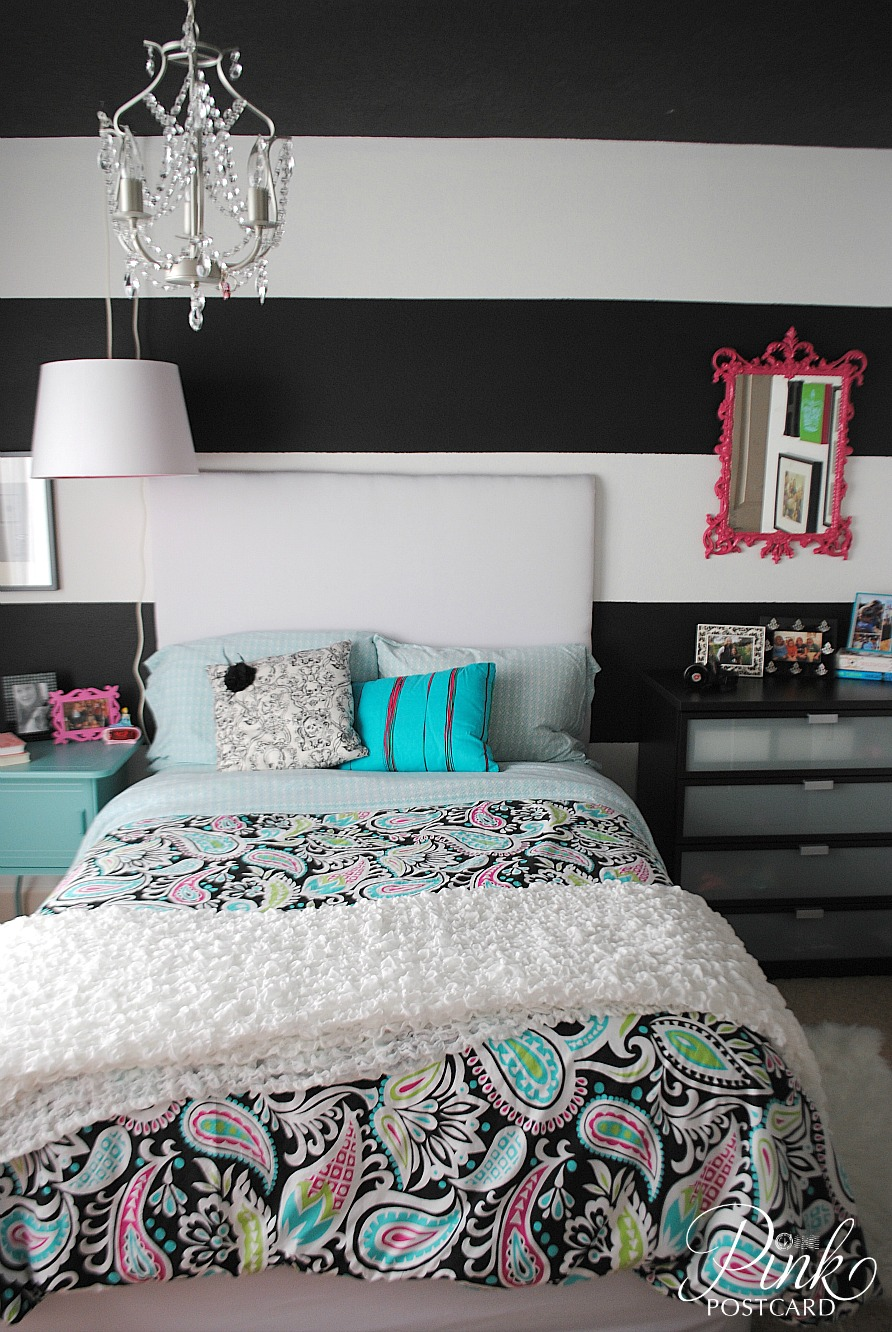 Modern and colorful teen bedroom noble vintage for Black and white rooms for teens